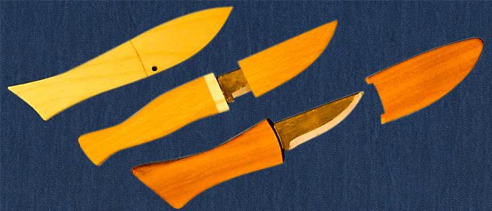 Kleine Messer in verschiedenen Fischformen
